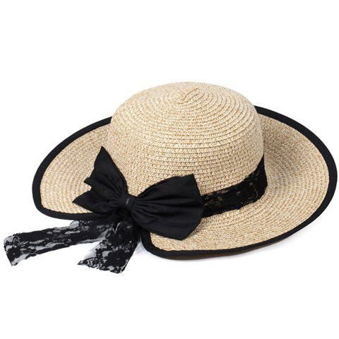 Chic Bow and Lace Embellished Black Covered Edge Women's Straw Hat - LIGHT KHAKI