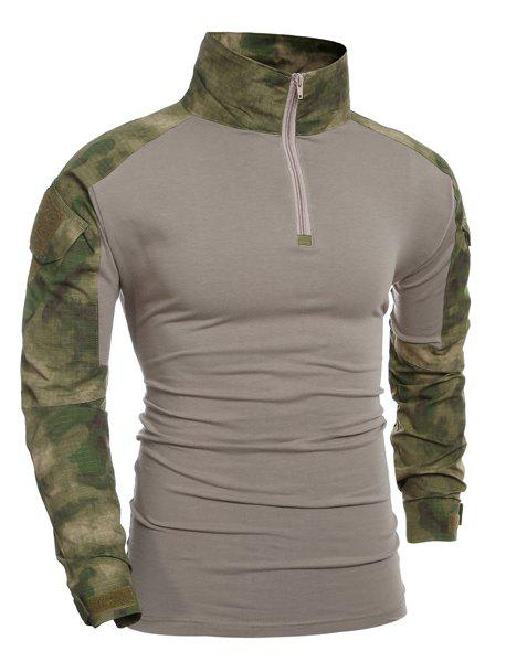 Outdoor Half Zip Pullover Camo Splicing T-Shirt For Men