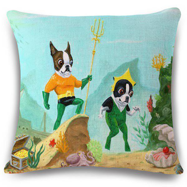 Fashion Benthoal Puppy Pattern Square Shape Flax Pillowcase (Without Pillow Inner) - COLORMIX