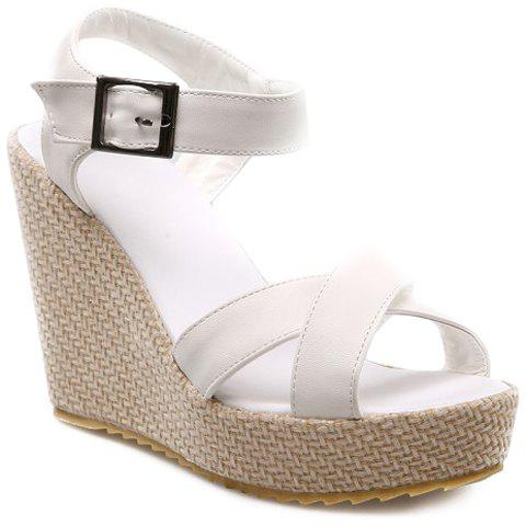 Fashionable Platform and Cross Straps Design Women's Sandals - WHITE 36