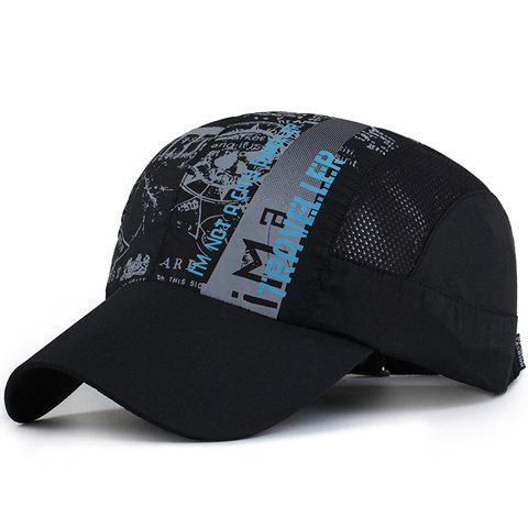 Fashion Letters and Abstract Pattern Breathable Mesh Sport Baseball Cap - BLACK