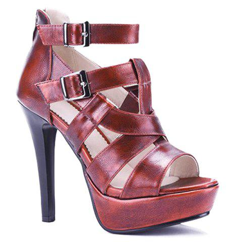 Fashionable Platform and Double Buckle Design Women's Sandals - WINE RED 35