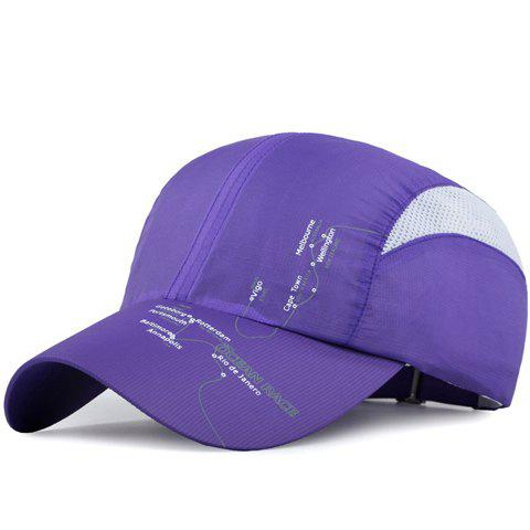 Fashion Letters and Lines Pattern Breathable Mesh Sport Baseball Cap - PURPLE