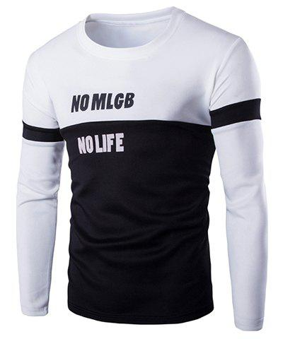 Sports Round Neck Hit Color Spliced Letter Pattern Long Sleeve Men's T-Shirt - WHITE L