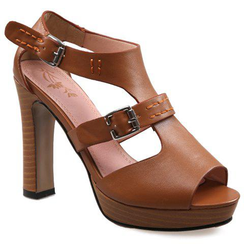Trendy Double Buckle and Solid Colour Design Women's Sandals - 34 BROWN