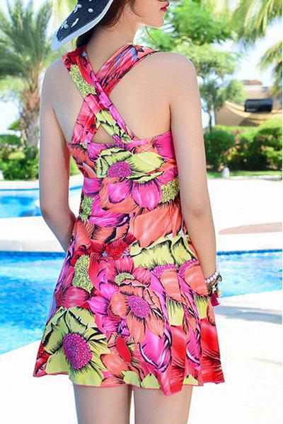 Fashionable Floral Print Criss-Cross Two-Piece Women's Swimsuit - XL ROSE