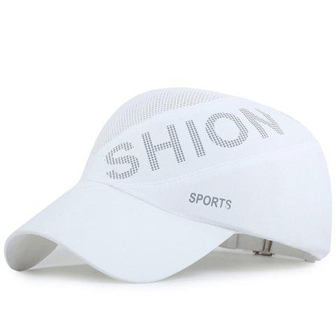 Fashion Polka Dotted Letters Pattern Breathable Mesh Sport Baseball Cap - WHITE