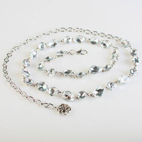 Fashionable Sparkling Crystals Decorated Alloy Waist Chain For Women - SILVER