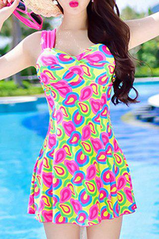 Trendy Women's Sweetheart Neckline Push Up Print One-Piece Swimsuit