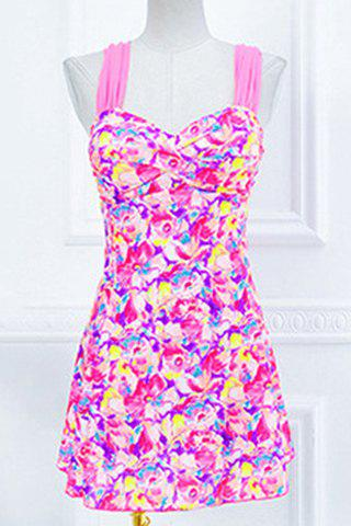 Trendy Women's Sweetheart Neckline Push-Up Floral Print One-Piece Swimsuit - PLUM L