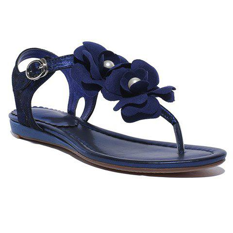 Casual Faux Pearls and Flower Design Women's Sandals - 38 DEEP BLUE