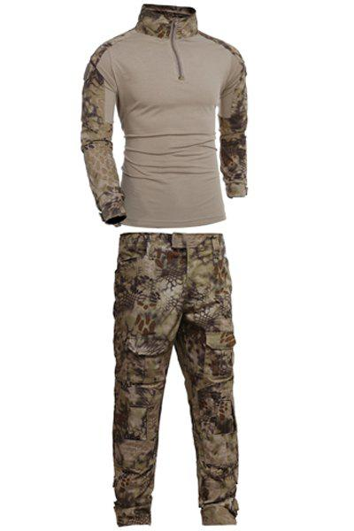Men's Half Zip Outdoor Stand Collar Camo Suits(T-Shirt +Pants) - CAMOUFLAGE 2XL