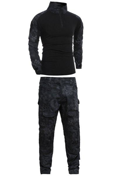 Men's Half Zip Outdoor Stand Collar Splicing Suits(T-Shirt +Pants) - BLACK L