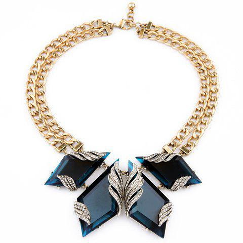 Rhinestone Faux Gem Geometric Necklace - GOLDEN