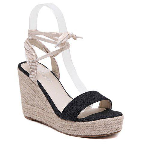 Elegant Denim and Weaving Design Women's Sandals - BLACK 38