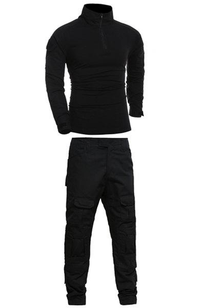 Men's Stand Collar Half Zip Outdoor Solid Color Suits(T-Shirt +Pants) - BLACK 2XL