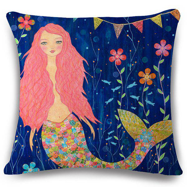 Chic Fairy Tale Mermaid Pattern Square Shape Flax Pillowcase (Without Pillow Inner) - NAVY BLUE