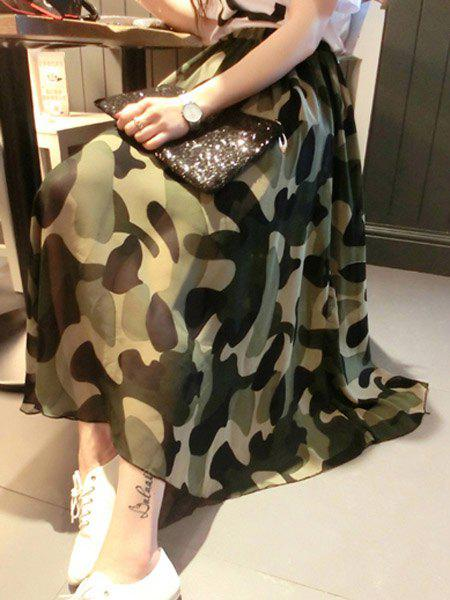 Stylish Camouflage Print Chiffon Full Skirt For Women