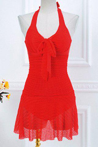 Halterneck Lacing Skirted One Piece Swimsuit - RED M