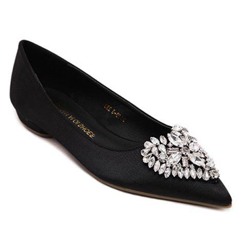 Graceful Heart Pattern and Rhinestone Design Women's Flat Shoes - BLACK 38