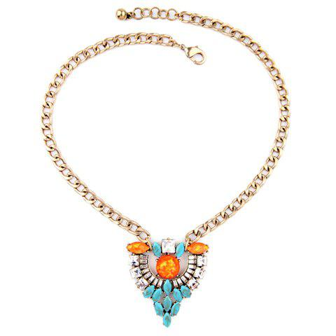 Charming Faux Turquoise Hollow Out Necklace For Women - GOLDEN