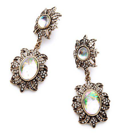 Pair of Alloy Floral Rhinestone Drop Earrings - WHITE