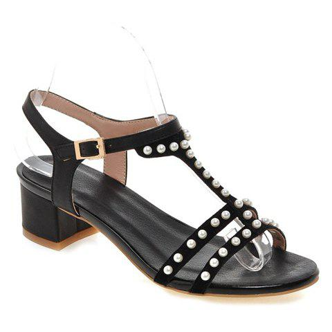 Stylish Beading and Black Colour Design Women's Sandals - BLACK 39