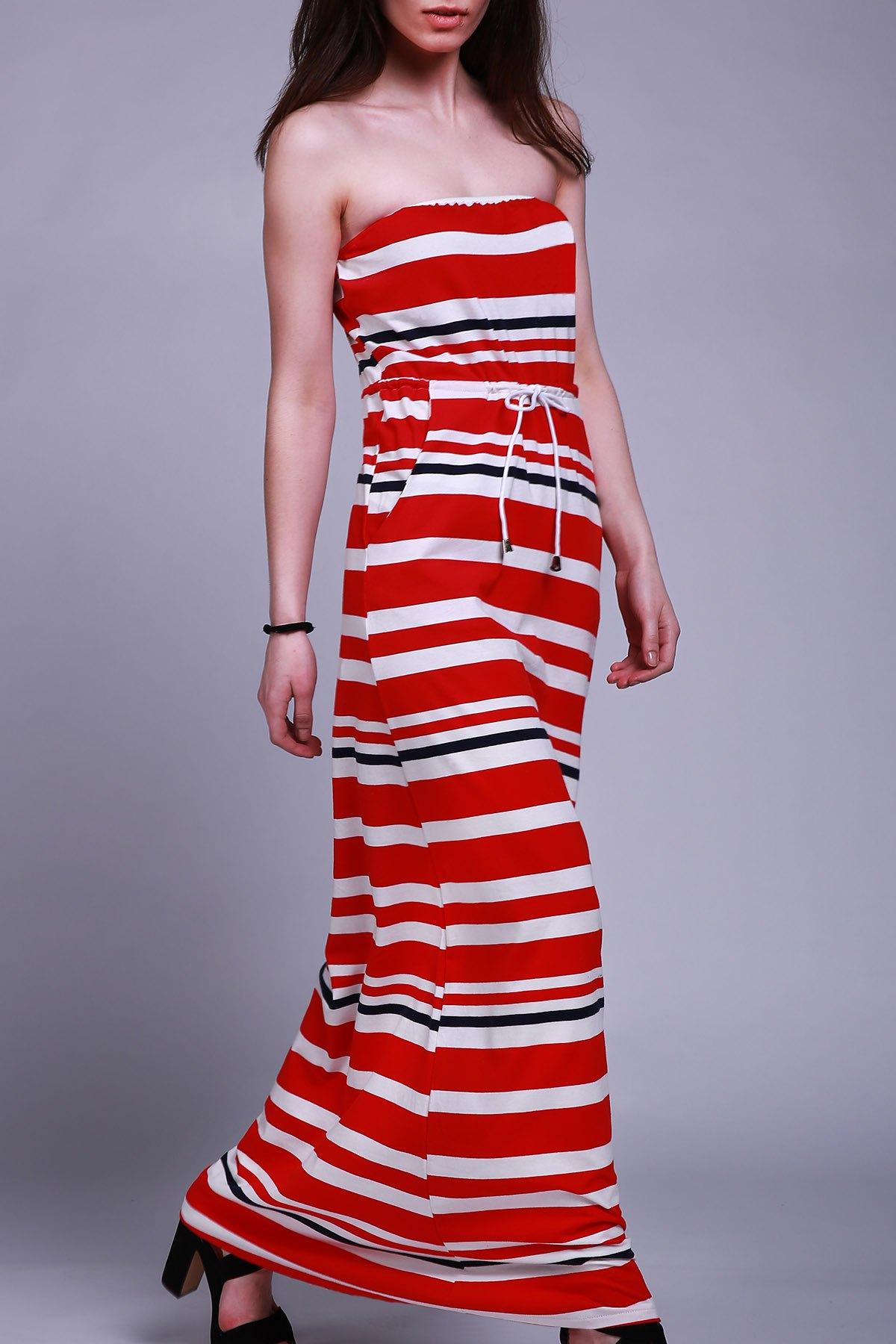 Stylish Women's Strapless Striped Drawstring Maxi Dress - RED S
