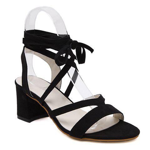 Stylish Lace-Up and Chunky Heel Design Women's Sandals - BLACK 39