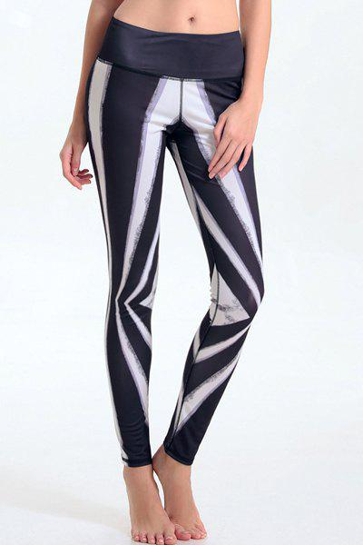 Trendy Elastic Waist Hit Color Leggings For Women - COLORMIX L