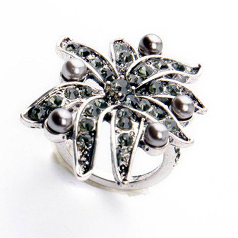 Faux Pearl Rhinestone Floral Ring - SILVER GRAY ONE-SIZE