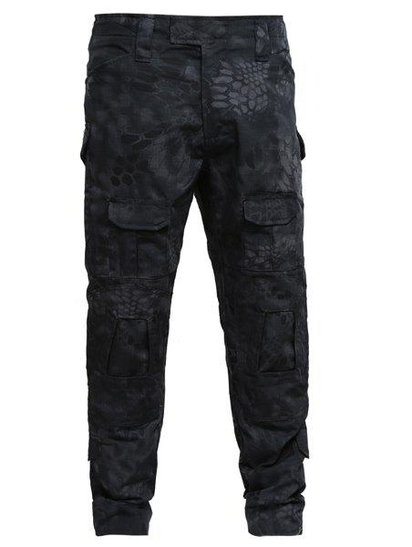 Men's Outdoor Pockets Training Camo Pants - BLACK 2XL