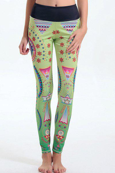 Trendy Elastic Waist Cartoon Pattern Leggings For Women - LIGHT GREEN S
