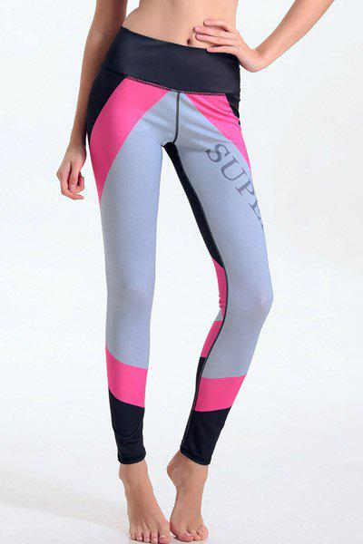 Trendy Elastic Waist Hit Color Bodycon Leggings For Women - COLORMIX L