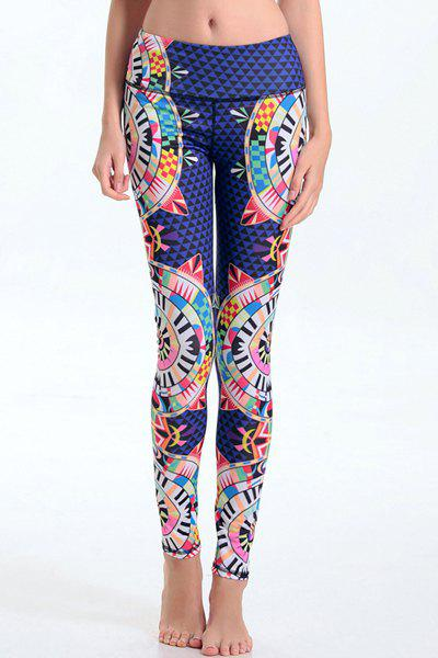 Trendy Geometrical Elastic Waist Bodycon Leggings For Women - COLORMIX S