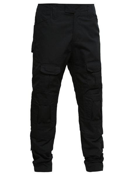 Men's Pockets Outdoor Training Solid Color Pants - BLACK S