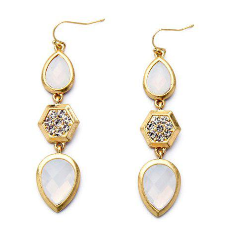 Pair of Water Drop Rhinestone Earrings - WHITE