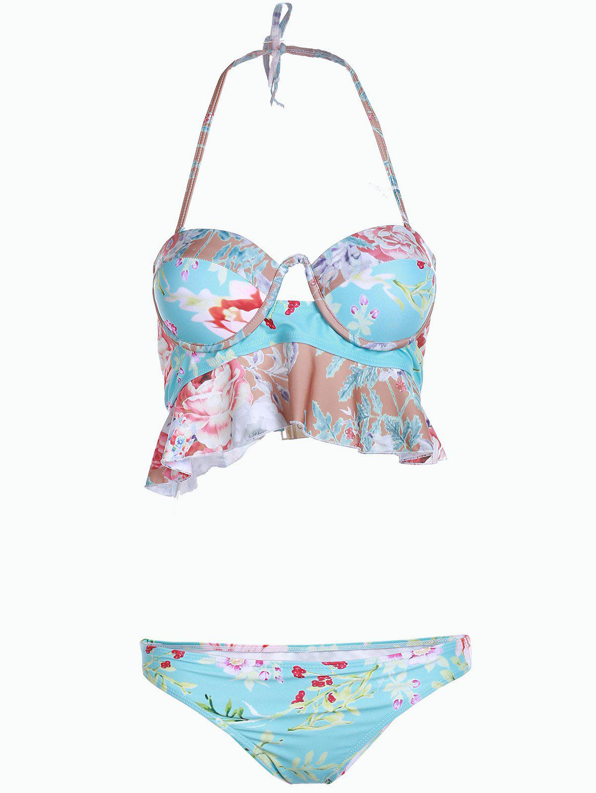 Sweet Floral Print Strapless Hollow Out Two-Piece Women's Swimsuit - TIFFANY BLUE S
