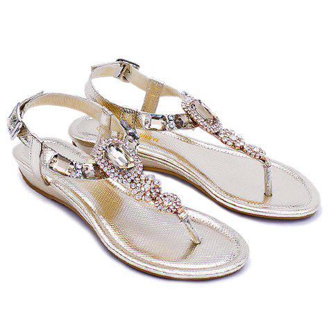 Bling Bling Rhinestone and Low Heel Design Women's Sandals - GOLDEN 37