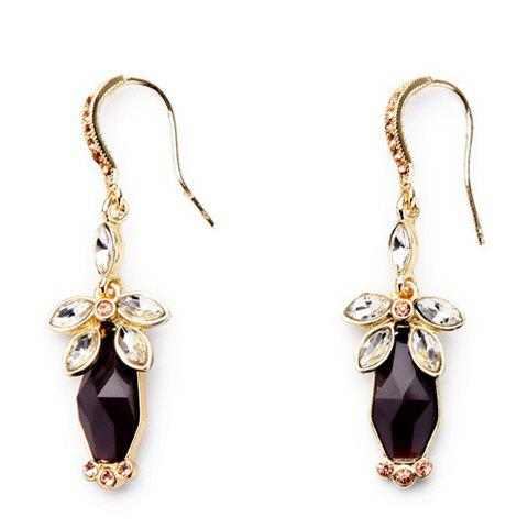 Pair of Blossom Rhinestone Earrings - GOLDEN