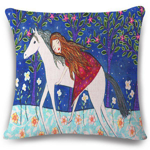 Chic Fairy Tale Horse Pattern Square Shape Flax Pillowcase (Without Pillow Inner)