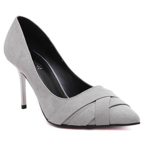 Graceful Pointed Toe and Flock Design Women's Pumps - LIGHT GRAY 38