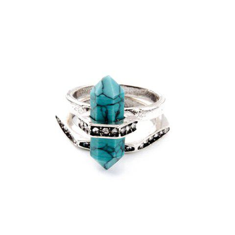 Chic Alloy Faux Gem Ring For Women - SILVER ONE-SIZE