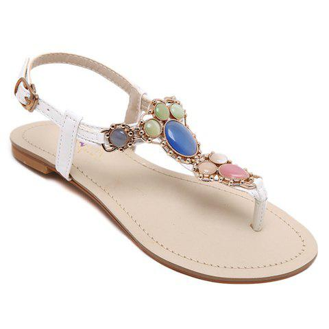 Bohemian Flat Heel and Colorful Beads Design Women's Sandals - WHITE 39