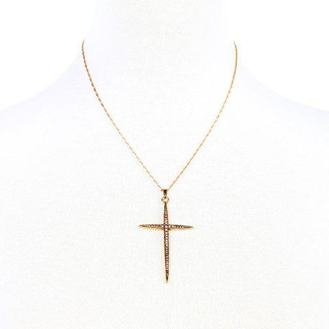 Chic Rhinestoned Cross Necklace For Women - GOLDEN