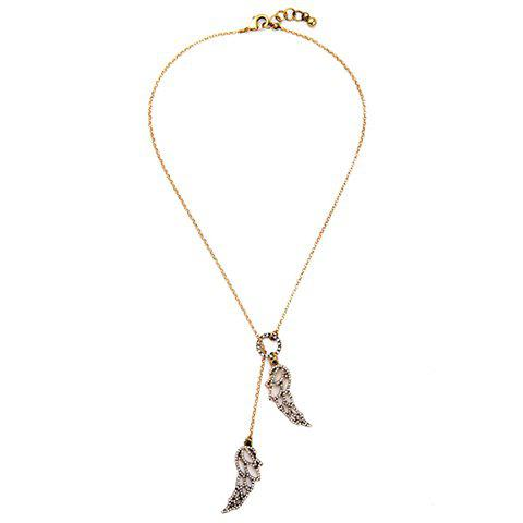 Wings Rhinestoned Necklace - GOLDEN
