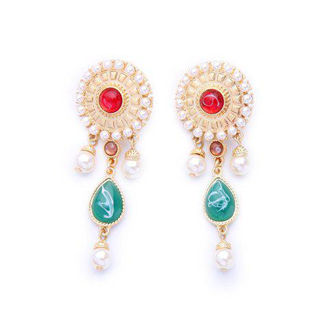 Pair of Vintage Alloy Faux Pearl Water Drop Earrings For Women - WHITE