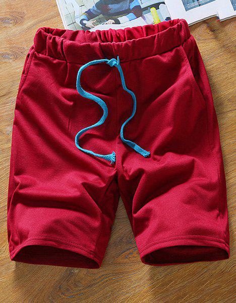 Modish Simple Style Straight Leg Drawstring Men's Shorts - WINE RED M