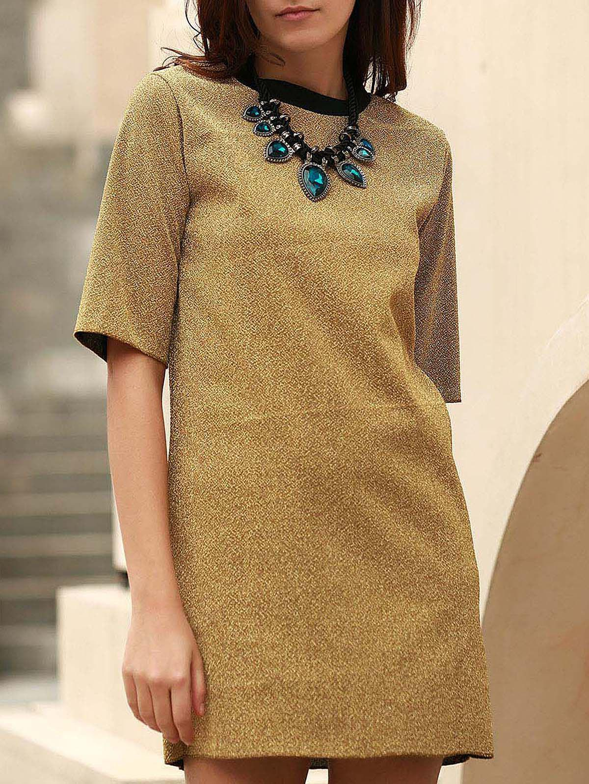 Shift Mini Dress - GOLDEN ONE SIZE(FIT SIZE XS TO M)