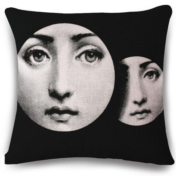 Chic Fashion Girl Face Pattern Square Shape Flax Pillowcase (Without Pillow Inner) - BLACK